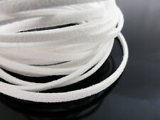 5m x 3mm White Faux Imitation Suede Cord Thong Lace Beading Necklace Jewellery