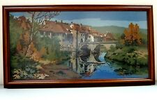 "EMBROIDERED NEEDLEPOINT FRAMED SCOTTISH CASTLE MOUNTAINS BRIDGE 33"" X 17.5"""