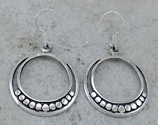 EXOTIC 925 STERLING SILVER BEADED CIRCLE DANGLING EARRINGS  style# e1085