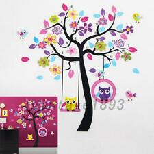 Lovely Owl Bird Tree Swing Wall Sticker Decal For Kids Baby Nursery Room Decor