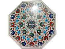 "24"" White Marble Coffee Center Table Top Multi Stone Marquetry Inlay Arts H3034A"
