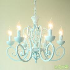 Mediterranean light blue Iron Chandelier Pendant Light Ceiling Lamp + 6 LED Bulb