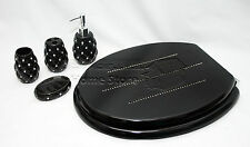 4pc elegante accessorio da bagno ceramica porcellana & Tavoletta per WC Set Black Diamond