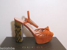 Gucci Isabeau New Rust Suede Knot Platform Bamboo Sandals 38 8