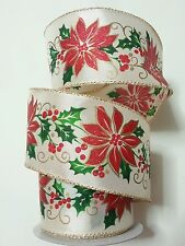 """DARICE HOLIDAY RIBBON -GOLD WITH RED GLITTER POINSETTAS-2 1/2"""" X 25'-WIRED-#36"""