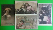 Little Girls Mistletoe Snow-Happy New Year-4 Antique Real Photo French Postcards