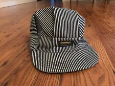 OshKosh Train Engineer Railroad Hat Snap Back Hickory Stripe USA Vintage Adult