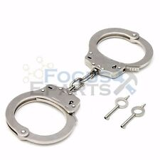 Professional Chrome Nickle Plated Steel Double Lock Police Handcuffs Keys USA
