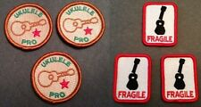 Ukulele Merit Badge and Fragile Sticker lot of 6  Embroidered Uke Patch Decal