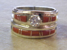 Native American Navajo Wilbert Muskett Sterling Red Coral Wedding Set Band 7 1/2
