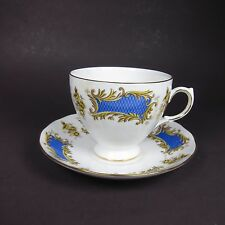 Vintage Royal Kent Tea Cup and Saucer Staffordshire England Blue Gold Floral
