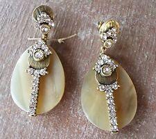 Silpada Horn Swarovski Crystals Embellished Elements Brass Earrings KRP0020 New