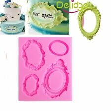 Oval  Mirror Frame Silicone Cake Mould Fondant Chocolate Sugarcraft Mold