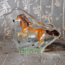 Clear Crystal Animal Horse Figurines Glass Paperweight Decorative Ornaments Gift