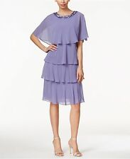 SL Fashions Tiered Shift Dress and Beaded Capelet Violet Size 10 $119