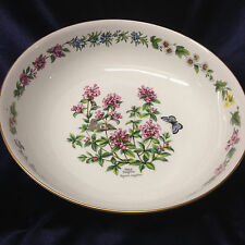 "ROYAL WORCESTER WORCESTER HERBS 12 5/8"" SALAD SERVING BOWL WILD THYME GOLD TRIM"