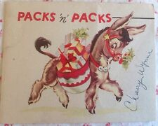 ** Vintage 1940's Christmas Card with Cute Pack Mule Donkey Bearing Gifts **