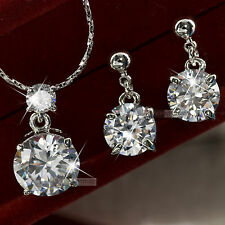 18k white gold gf uz genuine SWAROVSKI crystal stud earrings necklace set