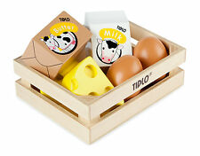 NEW Eggs & Dairy Wooden Play Food - 6 pcs & crate TIDLO Pre-school Pretend Food
