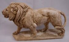 Sandstone Antique Finish Roaring Lion Sculpture Home Decor Statue Wild Cat Art