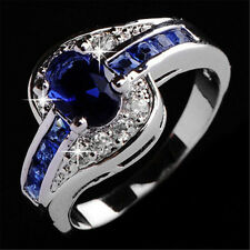 Women Blue Sapphire White Gold Filled Engagement Ring Size 8 Rings Jewelry Gift