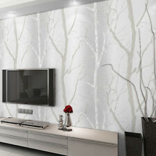 Grey Beige Modern Embossed Birch Tree Mural Forest Wood Wallpaper Vinyl Roll 10M