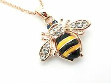 Bumblebee Bee Gold plated Crystal Ladies Pendant Woman's Necklace