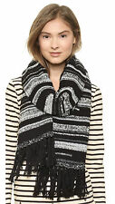 SOLD OUT! WHITE + WARREN BUCOLIC FRINGE SCARF WOVEN KNIT MARLED BLACK MULTI NEW