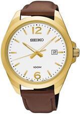 Seiko sur216p1 analogico 100m Acciaio Inox Placcato Oro Data Watch Rrp £ 159