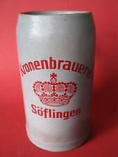 Alter 1 Liter Brauerei Bierkrug Steingut Kronenbrauerei Söflingen (Ulm)