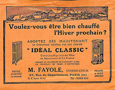 PARIS PETIT PROSPECTUS CHAUFFAGE IDEAL CLASSIC FAYOLE CONSTRUCTEUR