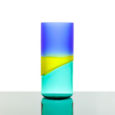 Alfredo Barbini - XL Blue & Yellow Doppio Incalmo Vase - Signed Murano Glass