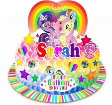 Edible My Little Pony Personalised Birthday Rainbow Scene Wafer Card Cake Topper