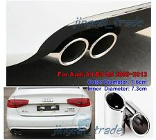 2 x Steel Silver Muffler Exhaust Pipe Tip for Audi A4 B8 Q5 2009~2013 1.8T 2.0T