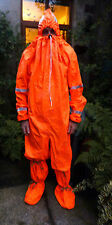 New in bag uv fluorescent orange rubber protective all-in hazmat suit with feet