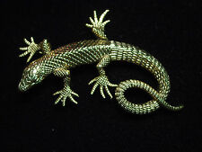 """JJ"" Jonette Jewelry Antique Gold Pewter 'Large Detailed LIZARD' Pin"