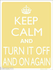 "Keep Calm and Turn It Off And On Again Humor 9"" x 12"" Metal Novelty Parking Sign"