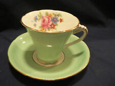 A B J GRAFTON TEA CUP AND SAUCER MINT GREEN WITH FLOWER S  ART DECO HANDLE