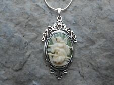 GUARDIAN ANGEL W/ CHILD/WOODEN BRIDGE CAMEO NECKLACE--925 PLATE CHAIN- QUALITY