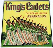 Kings Cadets, vintage crate label, California green asparagus, marching guards