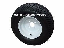 """*2* 205/65-10 LRC 6 PR ET Bias Trailer Tire on 10"""" 4 Lug White Wheel 20.5x8.0-10"""
