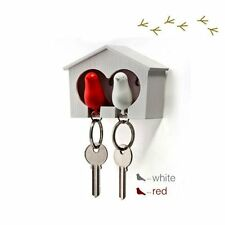 Duo Sparrow White House Key Ring Holder & Whistle with White and Red Bird