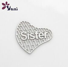 Floating charm 20mm Sisters silver Heart piece for glass Living Memory Locket !