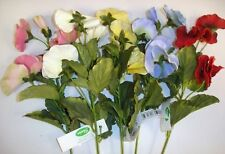 12 New Stems Velvet Silk Flower Pansy Sprays Mixed Colours Bargain Lot