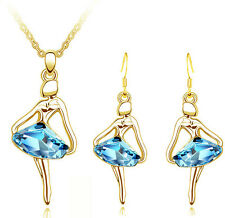 Gold Pale Blue Jewellery Set Ballet Girl Crystal Drop Earrings & Necklace S844