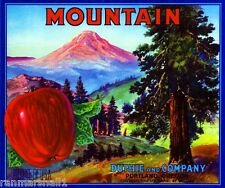 Portland Oregon Mt. Hood Mountain Apple Fruit Crate Label Vintage Art Print