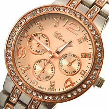 Watch Quartz Wrist Women Crystal Analog Silver & Rose Gold Quartz Wrist Watch