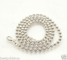 """4mm 24"""" Half Moon Bead Ball Necklace Chain 4 Dog Tag Sterling Silver 925"""
