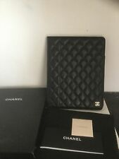CHANEL Black Caviar Leather Quilted  CC Logo iPad Tablet Case Holder Cover