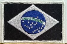 BRAZIL Flag Patch With VELCRO® Brand Fastener Military Police B & W Emblem #5